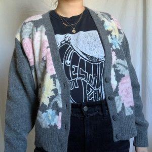 Vintage gray pastel floral sweater